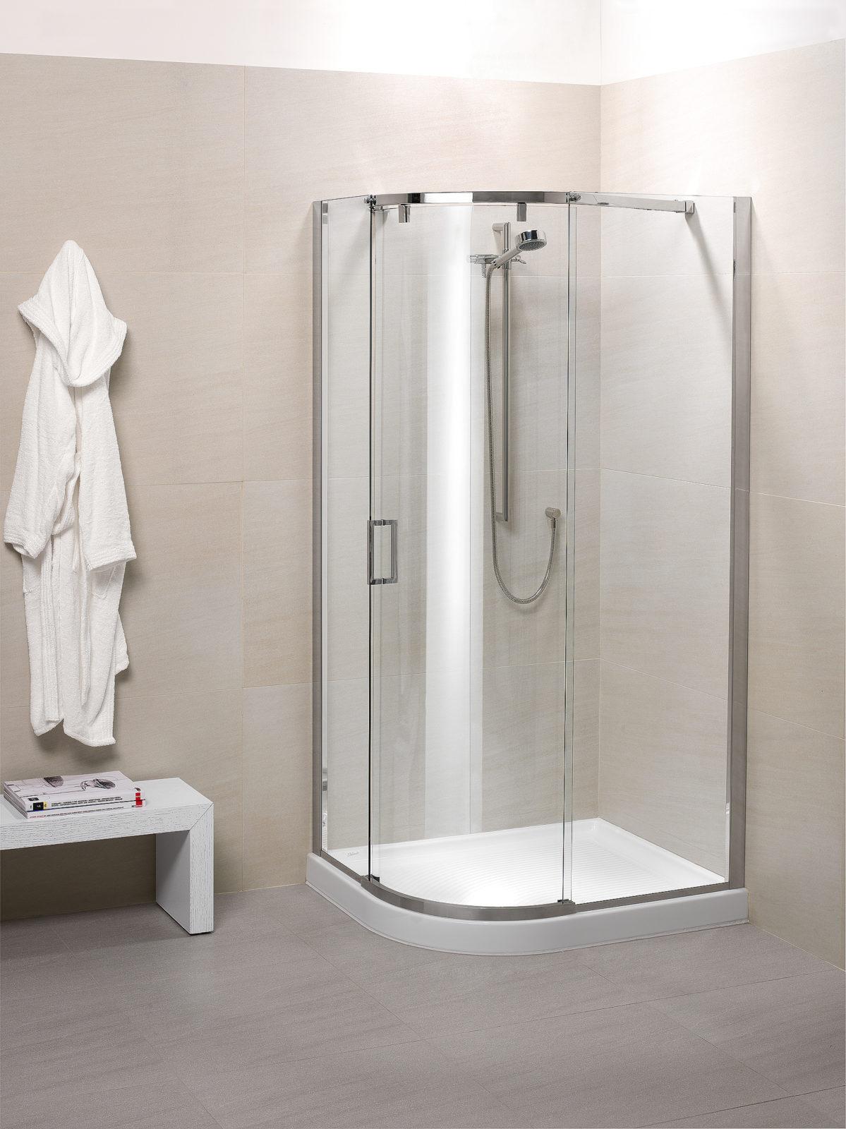 Cabine de douche porte coulissante avec verre courb Porte coulissante courbe