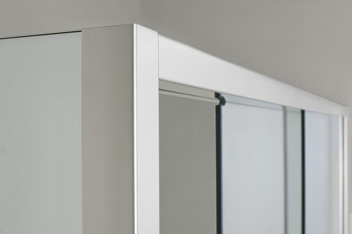 Parete doccia di cristallo con 2 lati fissi e porta - Parete attrezzata con porta scorrevole ...