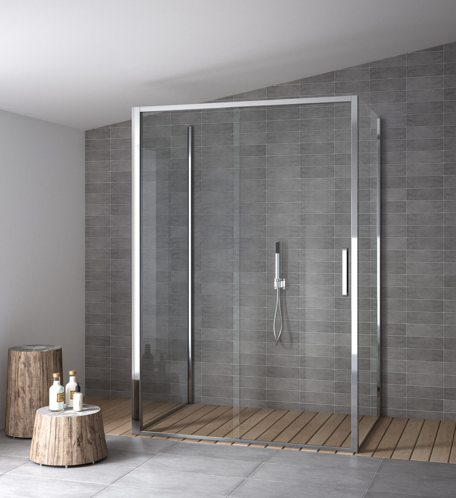 Three sided shower enclosure with sliding opening | Calibe