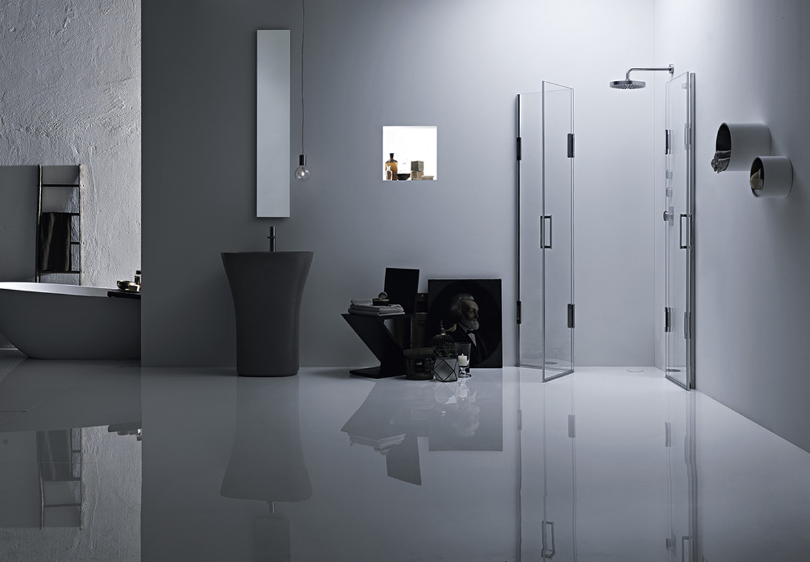 Cabina doccia angolare con 2 ante su misura - Thiesi
