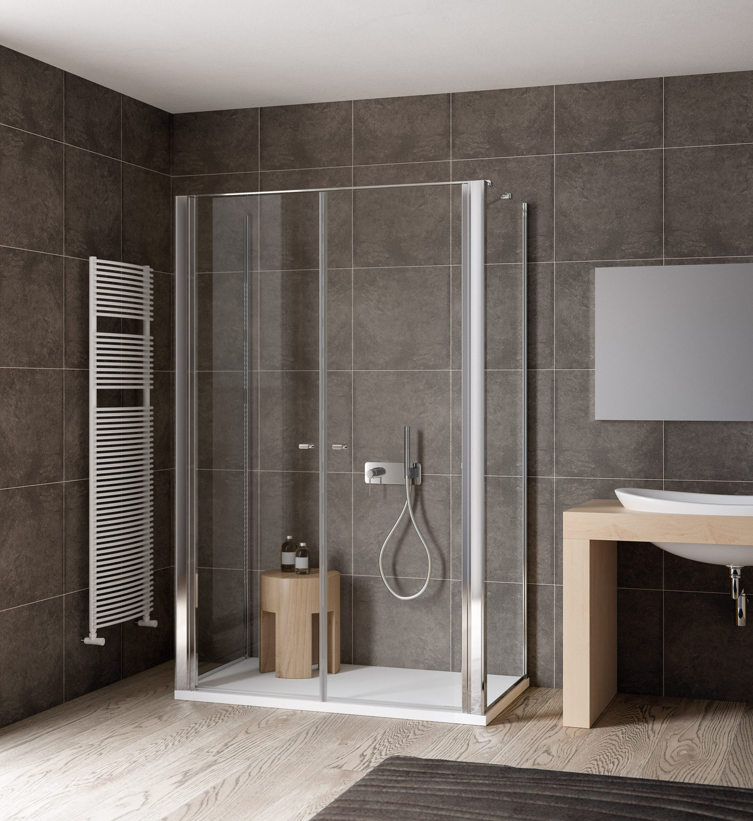 Three sided shower enclosure double door | Calibe