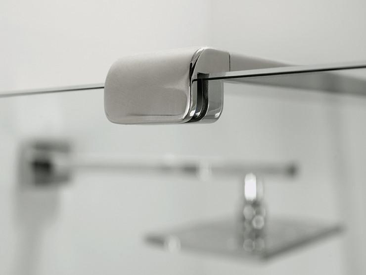 Parete doccia di cristallo con 2 lati fissi e porta a doppia anta ...