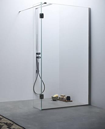 Parete doccia divisoria fissa con anta mobile