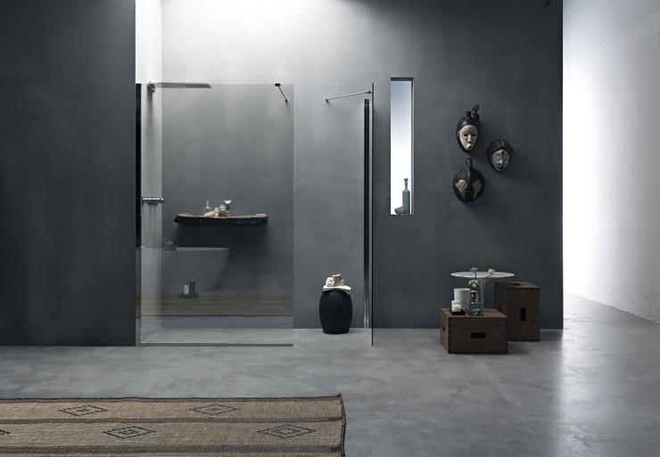 Parete doccia divisoria fissa in cristallo linea trasparenza for Doccia a muro