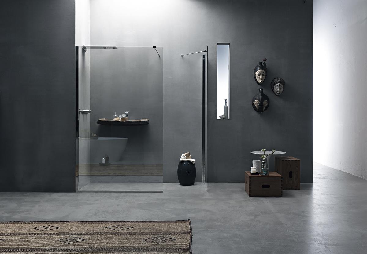 Pareti Per Doccia In Vetro : Parete doccia divisoria fissa in cristallo linea trasparenza