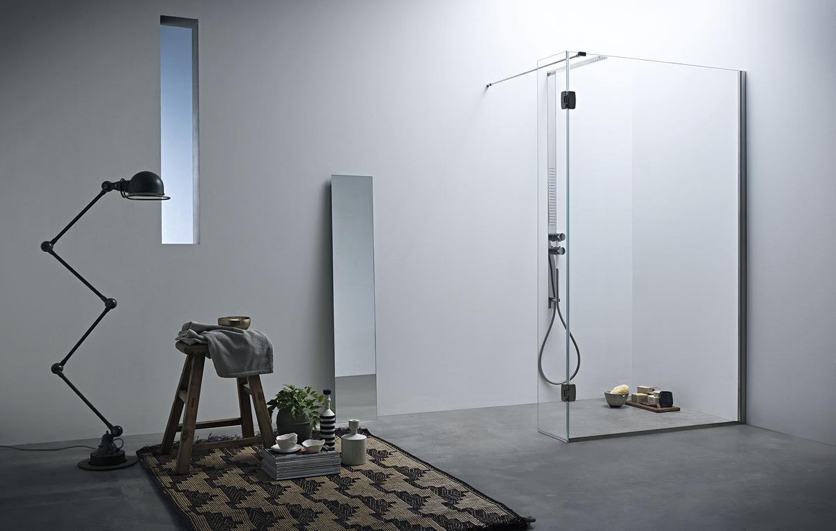 Parete Doccia Curva : Parete doccia divisoria fissa con anta mobile linea