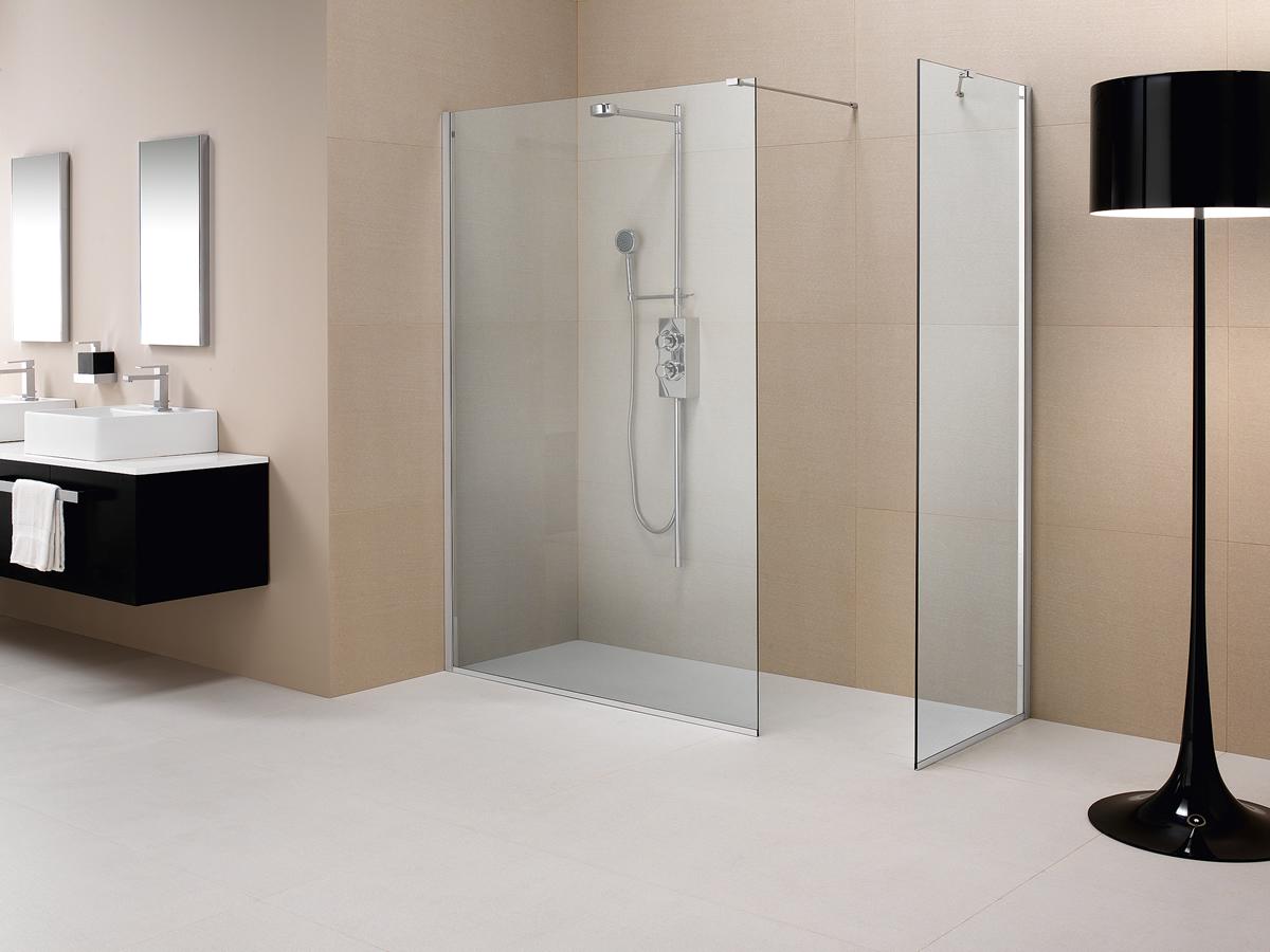Parete doccia divisoria fissa in cristallo linea trasparenza for Modele de douche sans porte