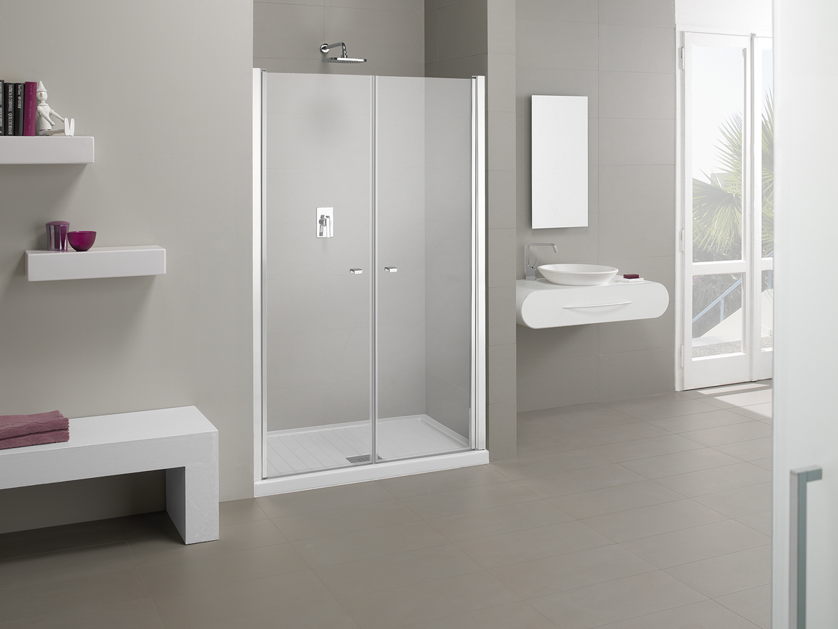 Porta doccia nicchia a doppia anta palau for Porta doppia anta