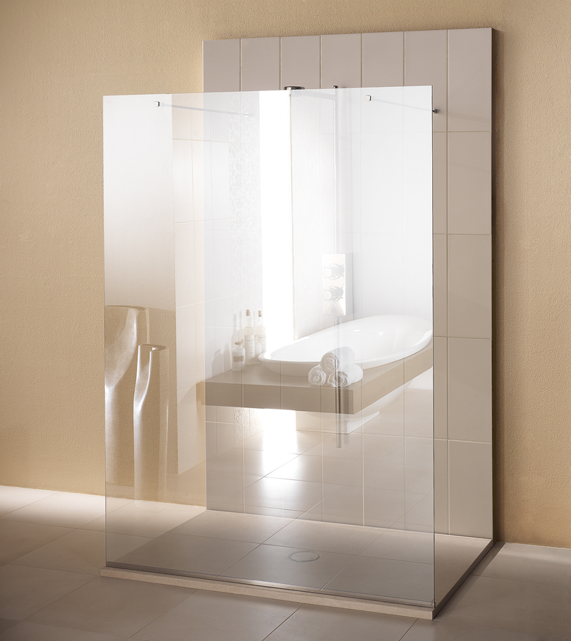 Parete doccia divisoria parallela alla parete di fissaggio Linea Trasparenza