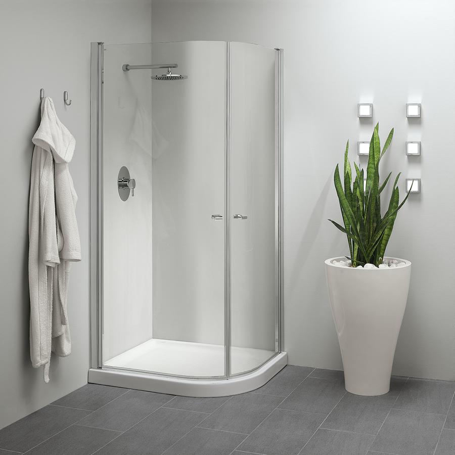 Parete Doccia Curva : Cabina doccia angolare con apertura esterna e interna
