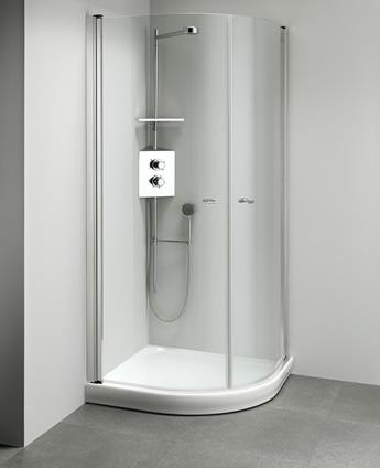 Cabina doccia angolare con apertura esterna e interna - Luna Inox